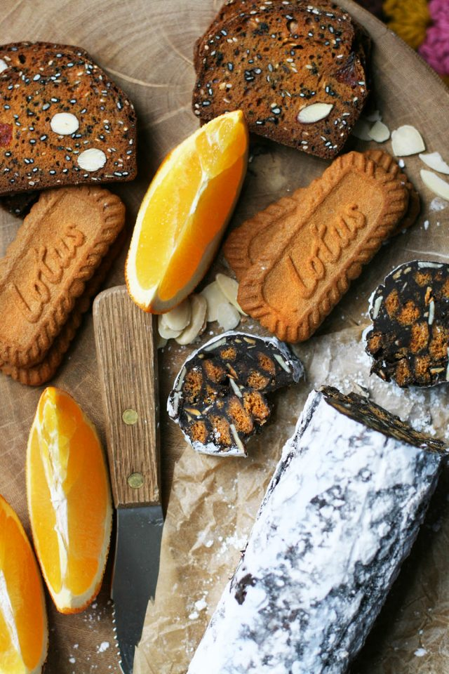 Chocolate-orange dessert salami: Not REAL salami... but the dessert one! Click through for NO-BAKE recipe.