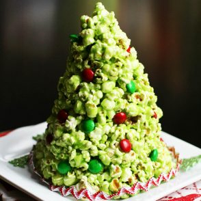 A popcorn Christmas tree! This edible tree is essentially one big popcorn ball. Click through for recipe!