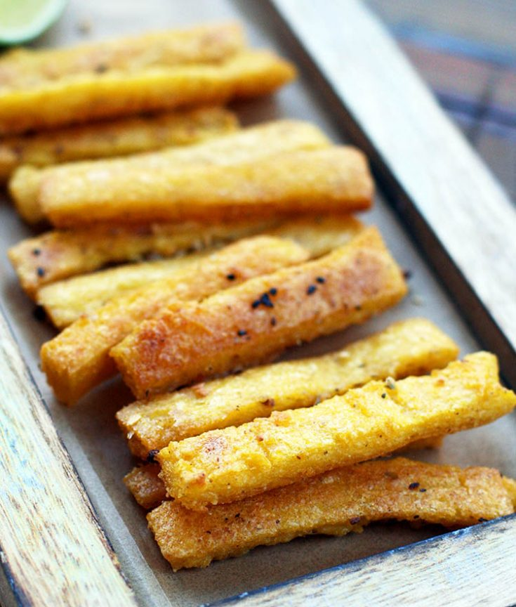 Oven-baked polenta fries: One of the cheapest appetizers out there, but oh so good!