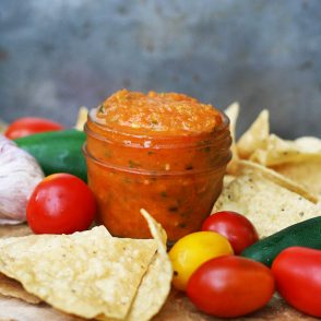 Roasted tomato salsa, with the best from the farmer's market.