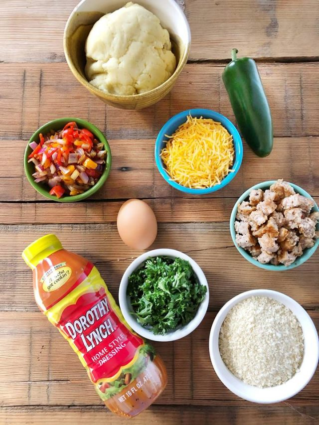 Ingredients for breakfast croquettes: Click through for recipe!