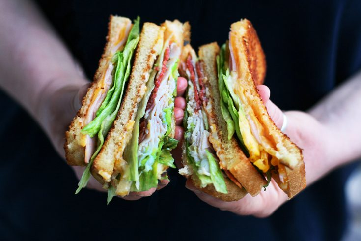 Grilled club sandwiches: Grilling the bread makes all the difference in the flavor of these hearty sandwiches!