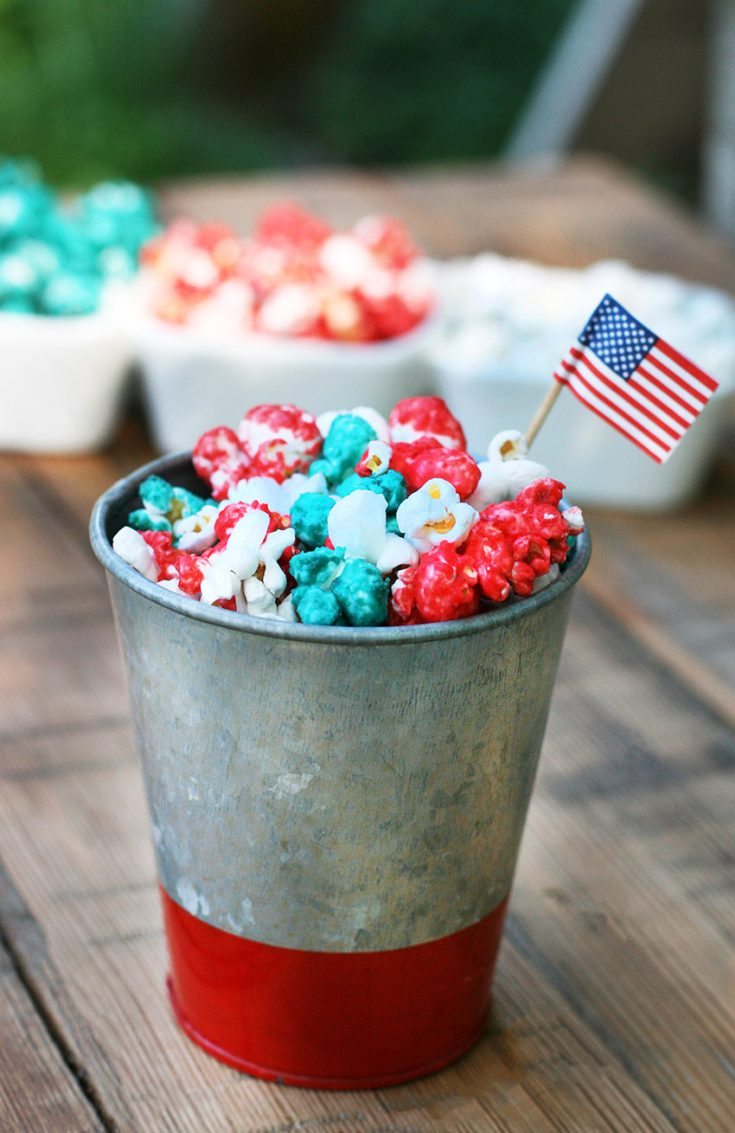 Red, white, and blue popcorn. This patriotic popcorn is perfect for the 4th of July or other celebration.