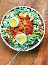 Sweet pea salad, with lots and lots of good stuff added. Click through for recipe!