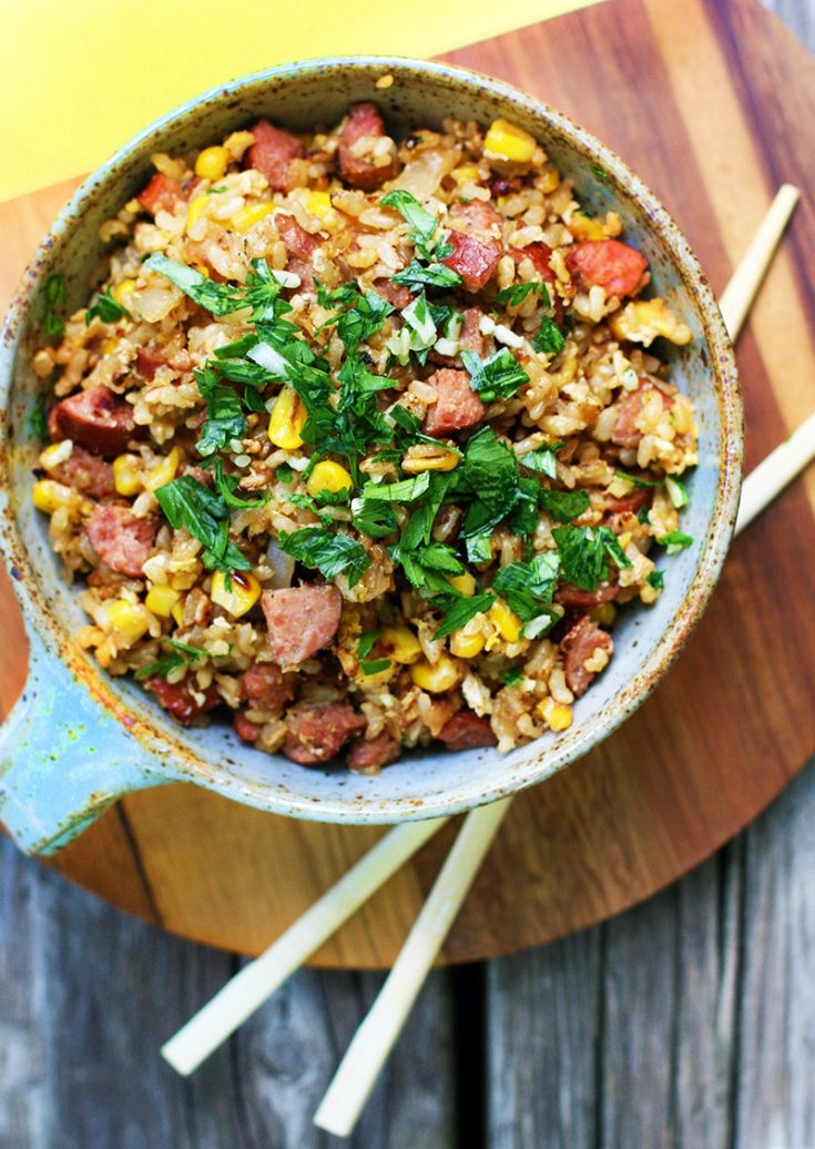 Got leftover rice? Then make this yummy ring bologna and sweet corn fried rice!