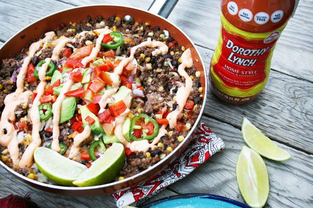 Make this Mexican ground beef skillet, flavored with Dorothy Lynch dressing. Click through for recipe!