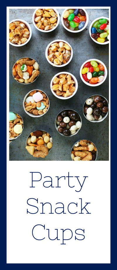 Party snack cup ideas: Fill paper cupcake cups with a variety of snack foods. Perfect for entertaining and parties!