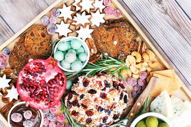Create a holiday snack board! Create a budget-friendly board for your Christmas party.