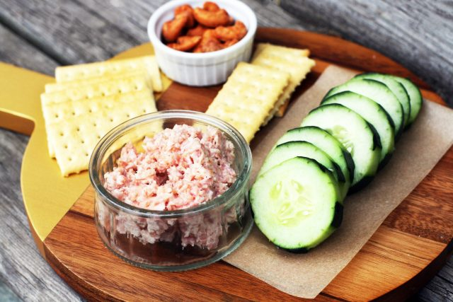 Simple ham salad: Just 3 ingredients makes a delicious ham spread for bread, crackers or veggies.