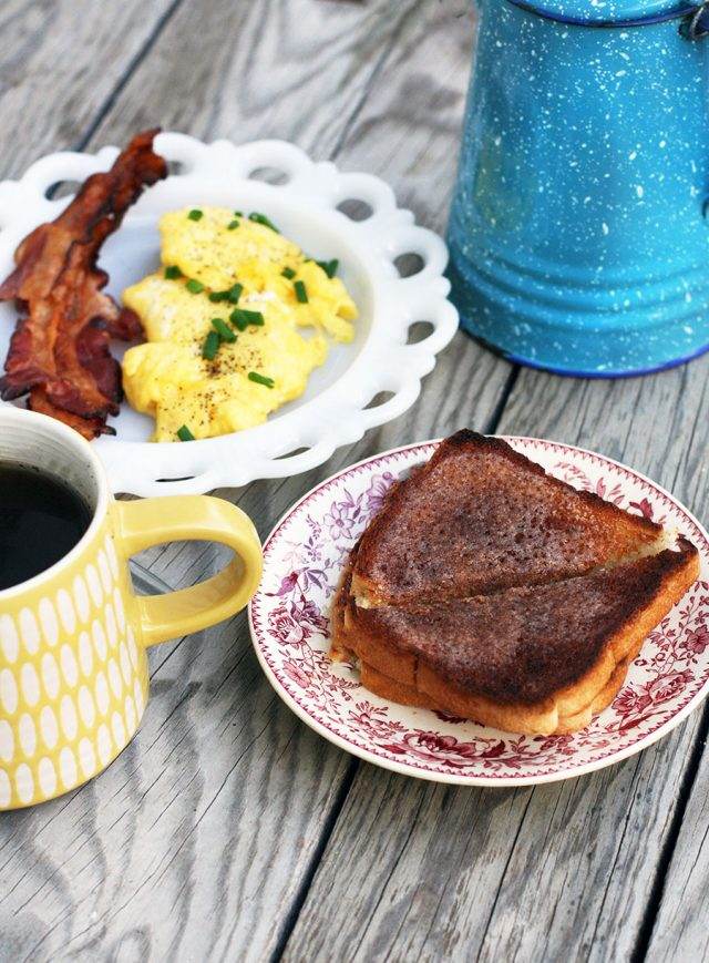 The best cinnamon toast ever! This method involves caramelizing the sugar under the broiler. Click through for recipe.