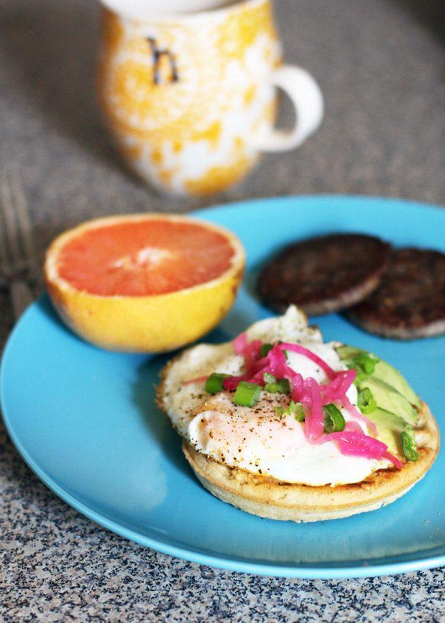 Frozen waffle hacks! Make a delicious breakfast sandwich. Click through for more ideas.