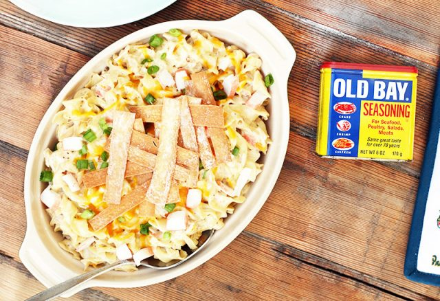 Crab rangoon hotdish: Pasta, crab, cream cheese - does it get any better?