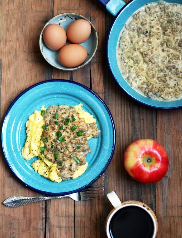 Eggs and sausage gravy: If you like biscuits and gravy, give this higher protein version a try!