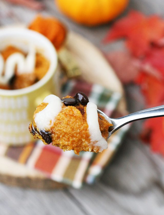 This pumpkin mug cake is gluten-free and super moist and chocolaty.