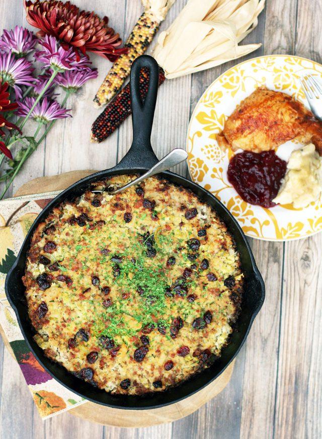 Cauliflower, sausage, and apple stuffing - paleo-friendly, grain-free Thanksgiving stuffing!