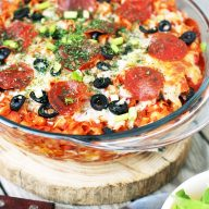 Pizza hotdish: All the delicious pizza fixings make for a delicious hotdish!