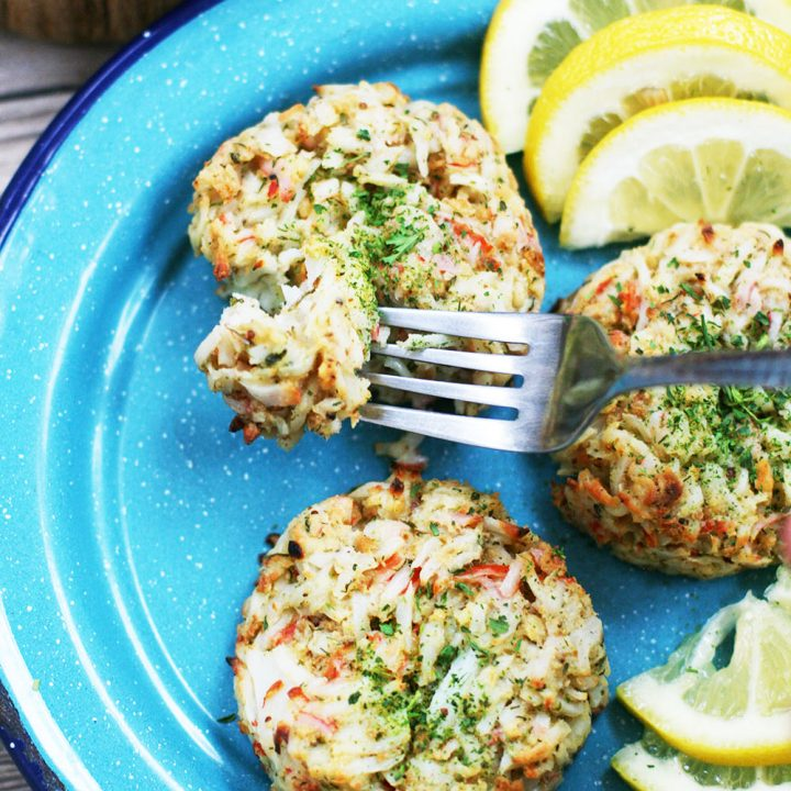 Imitation crab cakes: Savory crab cakes made with less expensive imitation crab.