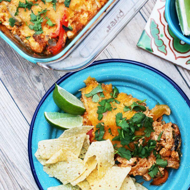 Chicken fajita bake: Serve with tortilla chips. A unique take on classic chicken fajitas!