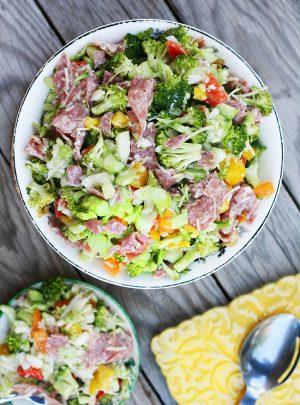 Broccoli Salami Sweet Onion Salad