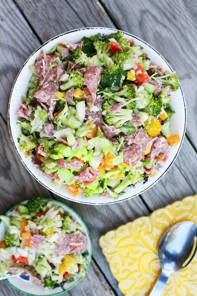 """Broccoli salami sweet onion salad: A hearty, meaty salad for those days when """"just a salad"""" isn't enough."""