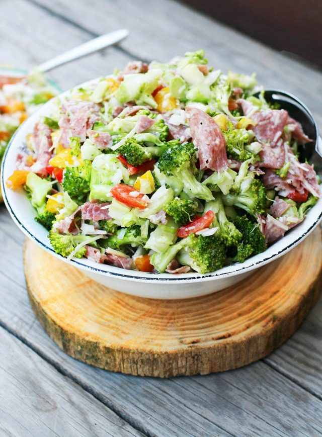 Broccoli, salami, sweet onion salad: A hearty salad recipe that has something for everyone!