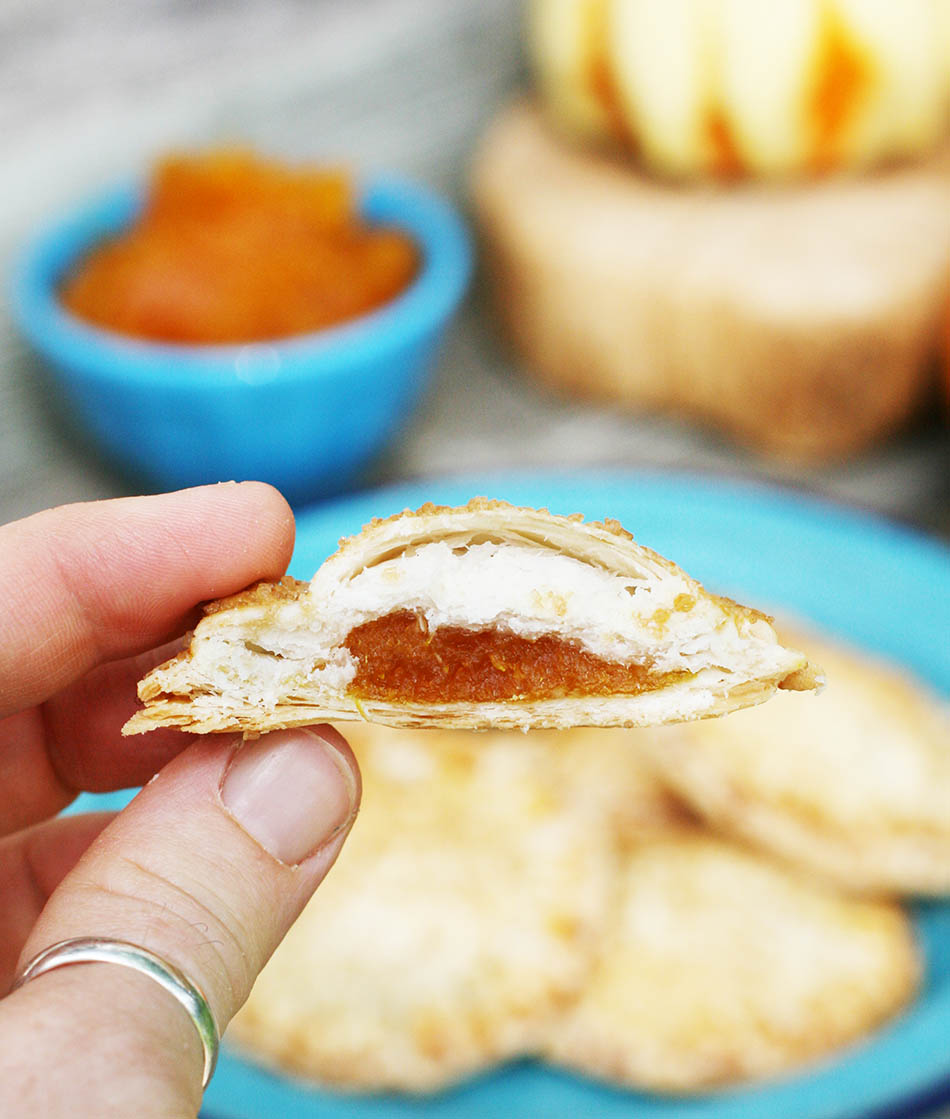 Pumpkin-filled hand pies: Make them using refrigerated or homemade pie crust, and homemade pumpkin compote!