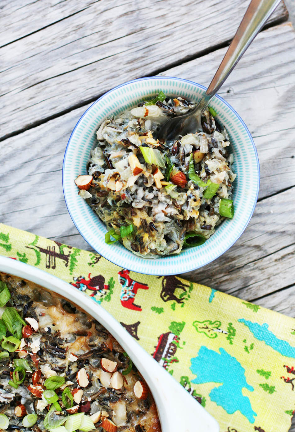 Wild rice hotdish, with chicken, water chestnuts, and other delicious ingredients. Click through for recipe.