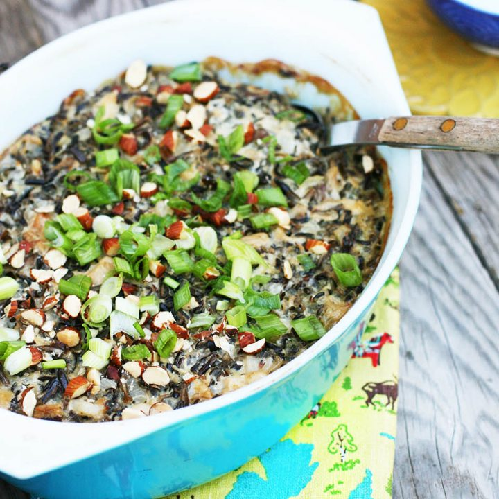 Wild rice hotdish: Chicken, water chestnuts, soup, and other ingredients make for a super hearty dish.